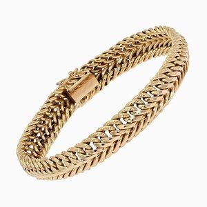 French American Mesh 18 Karat Yellow Gold Bracelet, 1960s