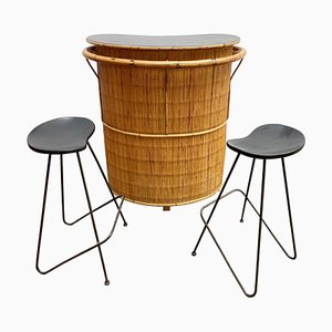 Mid-Century Bamboo Bar and 2 High Stools, 1960s, Set of 3