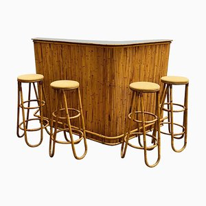 Mid-Century Bamboo Bar and Stools and Bar, 1960s, Set of 5