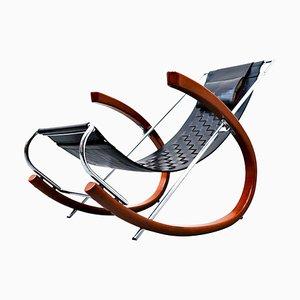 Model Donna Black Leather Rocking Chair by Elio Di Franco for Zanotta, 1988