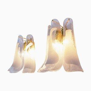 Vergoldete Vintage Murano Glas Kronleuchter Wandlampen von Novaresi, 2er Set