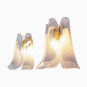 Vintage Murano Glass Petals Gold Plated Wall Sconces from Novaresi, Set of 2