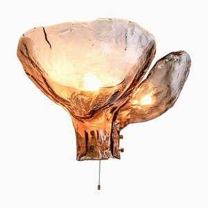 Große bernsteinfarbene Glas Wandlampe, Österreich von JT Kalmar, Österreich, 1960er