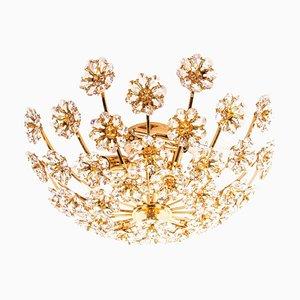 Jewel Flush Mount Swarovski Crystal & Gilt-Brass Chandelier from Palwa, 1960s