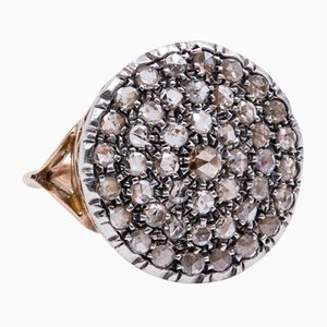 Vintage Ring in 14K Gold and Silver with Coroné Roses, 1950s