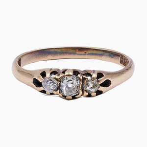 Antique 14K Gold Ring with 0.15 Ct Diamonds, Early 1900s