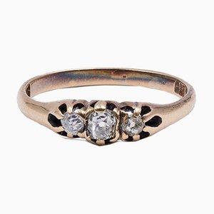 Bague 14K Antique en Or avec 0,15 Ct de Diamants, Début 1900s
