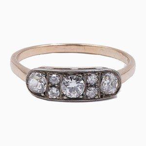 Antiker 14 Kt Gold Ring mit Diamanten von 0.70 Ct, Frühes 20. Jh
