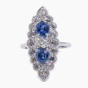 Ring aus 18 Karat Weißgold mit 2 Karat Diamanten und 1 Karat Saphir