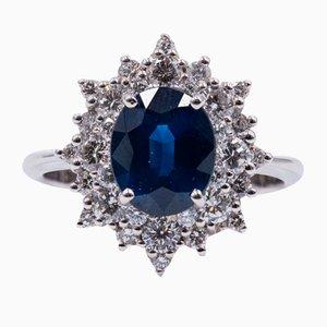 Vintage 18 Karat Gold Ring mit Zentralen Saphiren und Diamanten, 1970er