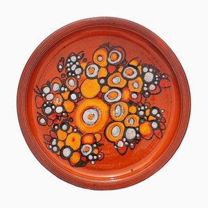 Grande Assiette Orange de Elly and Wilhelm Kuch Pottery