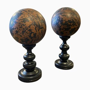 Art Deco Spheres on Black Painted Wooden Stand, 1940s, Set of 2