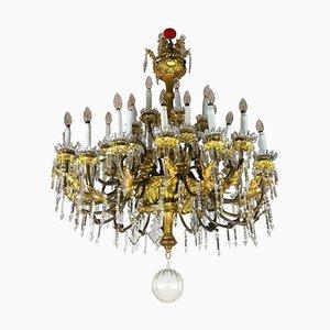 Lampadario grande in ottone dorato e cristallo, Italia, XIX secolo