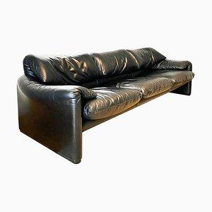 Black Leather Maralunga 3-Seat Sofa by Vico Magistretti for Cassina, 1973