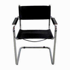 Black Leather and Chrome Metal Chair, 1970s