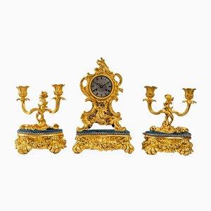 Louis XV Gilded Bronze Mantel Set, Set of 6