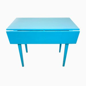 Extendable Blue Dining Table, Sweden, 1960s