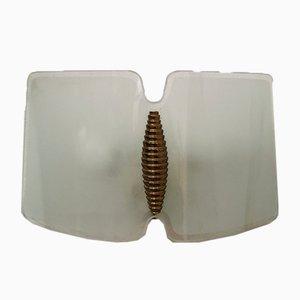 Geschwungene Italienische Mid-Century Lampen aus Geschnitztem Glas & Messing, 1950er, 2er Set