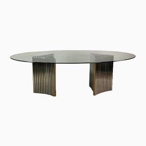Ovaler Tisch aus Stahl & Glas von Alessandro Albrizzi, 1970er