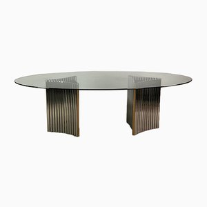 Steel and Glass Oval Table by Alessandro Albrizzi, Italy, 1970s