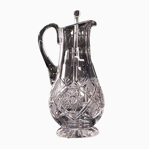 Vintage English Glass Punch Serving Ewer, Mid 20th Century