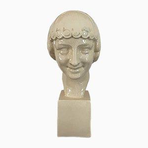 Sculpture Adonis Art Deco en Porcelaine Craquelée par F.trinque