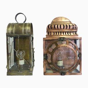 Vintage Copper Lanterns, Set of 2