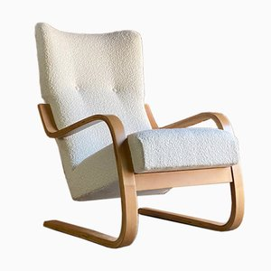 Model 401 Cantilever Lounge Chair in Bouclé by Alvar Aalto for Finmar, 1940s