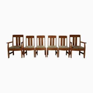 Art Deco Amsterdam School Oak Dining Chairs, Set of 6