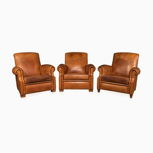 20th Century French Tan Leather Club Chairs, 1930s, Set of 3