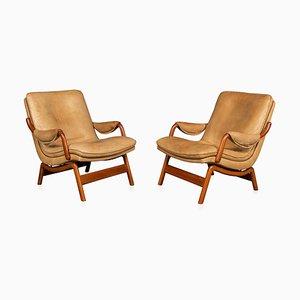 20. Jahrhundert Leder & Teak Stühle von Ikea, 1960er, 2er Set