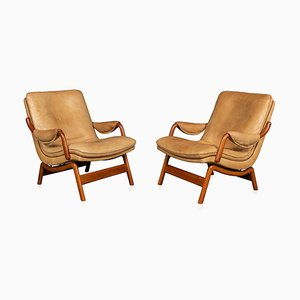 20th Century Leather & Teak Chairs from Ikea, 1960s, Set of 2