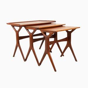 Tables Gigognes Modernes en Teck par Johannes Andersen pour CFC, Danemark, 1960s, Set de 3