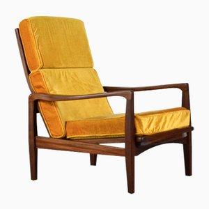 Mid-Century Danish Teak & Velvet Armchair by IB Kofod Larsen, 1960s