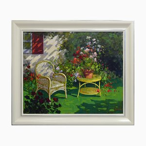 Renato Criscuolo, Im Garten, Öl auf Leinwand