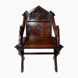 Antique Gothic Oak Glastonbury Chairs, Set of 2