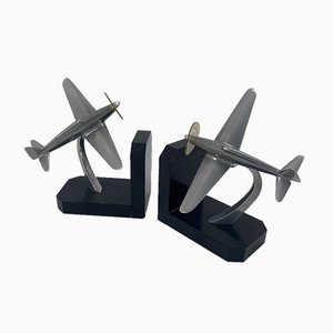 Art Deco Style Airplane Bookends in Marble and Cast Aluminum, Set of 2