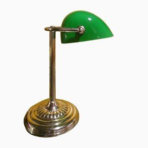 Ministerial Brass Lamp with Lampshade in Tile Green Glass, England, 1960s