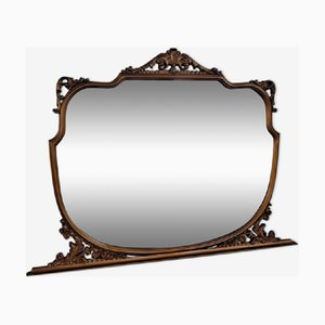 Big Vintage Italian Baroque Style Overmantle Mirror with Gilded Wooden Frame, 1900s