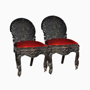 Carved Wood Chairs, India, Set of 2