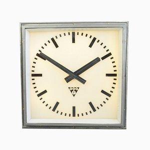 Large Light-Up Station Clock from Pragotron, 1950s