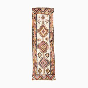 Mid-Century Geometric Ivory Wool Runner with Multicolored Pattern