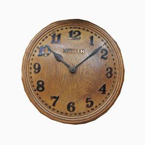 Geschwungene Eichenholz Uhr, 1960er