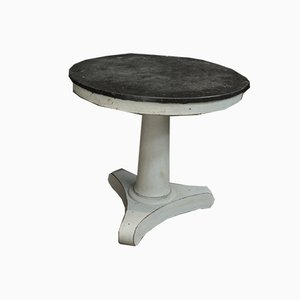 Empire Style Curved Wooden Pedestal with Marble Top, 1930s