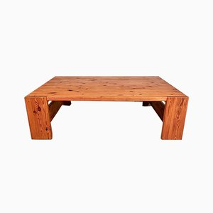 Very Large Swedish Brutalist Pinewood Coffee Table from Sven Larsson, 1970s