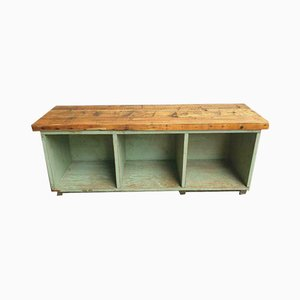 Vintage Wooden Compartment Cupboard or TV Cabinet in Light Green