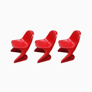 Vintage Model 2000 / 0/1 Red Plastic Chairs from Casala, 1972, Set of 3