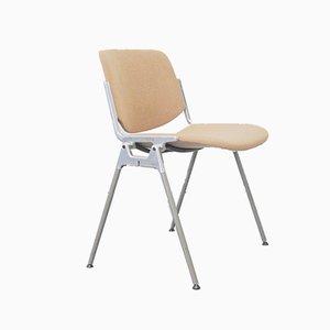 Italienische DSC 106 Stühle in Beigem Stoff von Giancarlo Piretti für Castelli / Anonima Castelli, 1970er, 4er Set