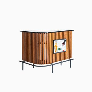 Roble Metal and Formica Bar Counter by Jacques Adnet, France, 1960s