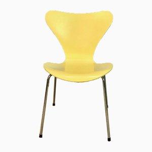 Sedia da pranzo o da scrivania modello nr. 3107 gialla di Arne Jacobsen per Fritz Hansen, Danimarca, 1955, Danimarca